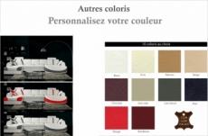 canapé d'angle en cuir italien 7/8 places oscar naples, couleurs personnalisées, angle gauche et méridienne à droite (vu de face)