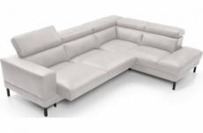 canapé d'angle en 100% tout cuir italien de luxe 5/6 places naya, assise électrique qui coulisse, blanc, angle droit