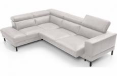 - canapé d'angle en 100% tout cuir italien de luxe 5/6 places naya, assise électrique qui coulisse, blanc, angle gauche