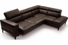 canapé d'angle en 100% tout cuir italien de luxe 5/6 places naya, assise électrique qui coulisse, chocolat, angle droit