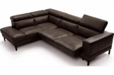 - canapé d'angle en 100% tout cuir italien de luxe 5/6 places naya, assise électrique qui coulisse, chocolat, angle gauche
