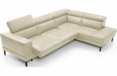 canapé d'angle en 100% tout cuir italien de luxe 5/6 places naya, assise électrique qui coulisse, écru, angle droit