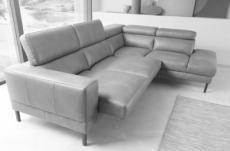 canapé d'angle en 100% tout cuir italien de luxe 5/6 places naya, assise électrique qui coulisse, gris clair, angle droit