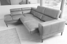 - canapé d'angle en 100% tout cuir italien de luxe 5/6 places naya, assise électrique qui coulisse, gris clair, angle gauche