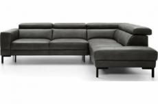 canapé d'angle en 100% tout cuir italien de luxe 5/6 places naya, assise électrique qui coulisse, gris foncé, angle droit