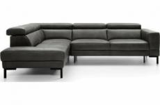 - canapé d'angle en 100% tout cuir italien de luxe 5/6 places naya, assise électrique qui coulisse, gris foncé, angle gauche