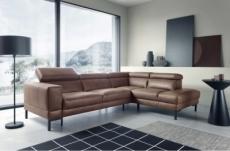 canapé d'angle en 100% tout cuir italien de luxe 5/6 places naya, assise électrique qui coulisse, marron, angle droit