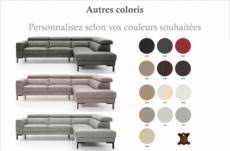 canapé d'angle en 100% tout cuir italien de luxe 5/6 places naya, assise électrique qui coulisse, couleur personnalisée, angle droit