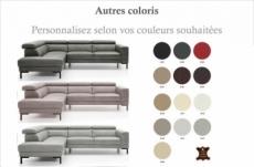 - canapé d'angle en 100% tout cuir italien de luxe 5/6 places naya, assise électrique qui coulisse, couleur personnalisée, angle gauche