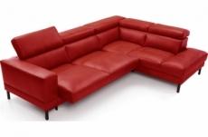 canapé d'angle en 100% tout cuir italien de luxe 5/6 places naya, assise électrique qui coulisse, rouge, angle droit