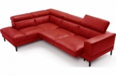 - canapé d'angle en 100% tout cuir italien de luxe 5/6 places naya, assise électrique qui coulisse, rouge foncé, angle gauche