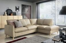 canapé d'angle en 100% tout cuir italien de luxe 5 places, convertible et avec coffre, nilsen, beige, angle droit