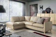 - canapé d'angle en 100% tout cuir italien de luxe 5 places, convertible et avec coffre, nilsen, beige, angle gauche