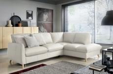 canapé d'angle en 100% tout cuir italien de luxe 5 places, convertible et avec coffre, nilsen, blanc cassé, angle droit