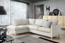 canapé d'angle en 100% tout cuir italien de luxe 5 places, convertible et avec coffre, nilsen, blanc cassé, angle gauche