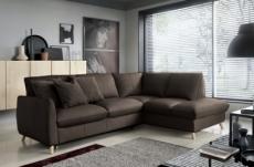 canapé d'angle en 100% tout cuir italien de luxe 5 places, convertible et avec coffre, nilsen, chocolat, angle droit