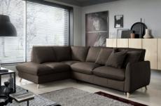 - canapé d'angle en 100% tout cuir italien de luxe 5 places, convertible et avec coffre, nilsen, chocolat, angle gauche
