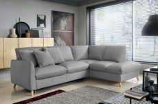 canapé d'angle en 100% tout cuir italien de luxe 5 places, convertible et avec coffre, nilsen, gris clair, angle droit