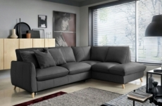 canapé d'angle en 100% tout cuir italien de luxe 5 places, convertible et avec coffre, nilsen, gris foncé, angle droit