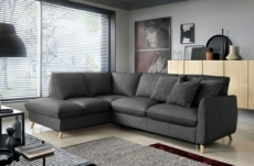 - canapé d'angle en 100% tout cuir italien de luxe 5 places, convertible et avec coffre, nilsen, gris foncé, angle gauche