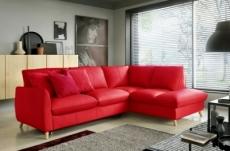 canapé d'angle en 100% tout cuir italien de luxe 5 places, convertible et avec coffre, nilsen, rouge foncé, angle droit