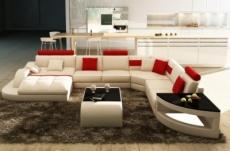 canapé d'angle en cuir italien 8 places nordik, blanc et rouge