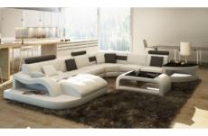 canapé d'angle 8 places nora, blanc et gris foncé, angle droit méridienne à gauche