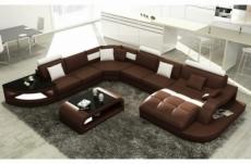 canapé d'angle en cuir italien 8 places nordik, chocolat et blanc