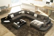 canapé d'angle en cuir italien 8 places nordik, gris foncé et blanc, angle gauche et méridienne à droite