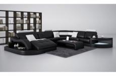 canapé d'angle en cuir italien 8 places nordik,, noir et blanc