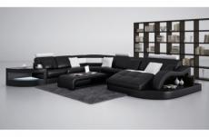 canapé d'angle en cuir italien 8 places nordik, noir et blanc