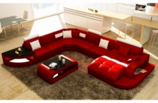 canapé d'angle en cuir italien 8 places nordik, rouge et blanc