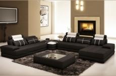 canapé d'angle en cuir italien 7/8 places norway, noir / blanc.