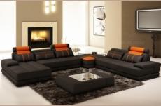 canapé d'angle en cuir italien 7/8 places norway, noir / orange.