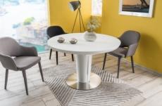 table à manger extensible ronde / ovale orba verre couleur blanche
