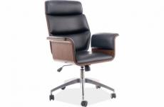 très beau fauteuil pivotant, simili cuir de qualité, couleur: noir et noyer, mécanisme tilt.
