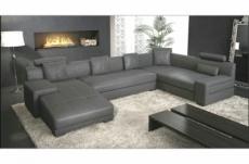 canapé d'angle en cuir italien 8 places, venesia, gris foncé, angle droit