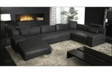 canapé d'angle en cuir italien 8 places, venesia, noir, angle droit