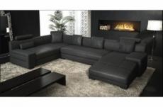 canapé d'angle en cuir italien 8 places, venesia, noir, angle gauche