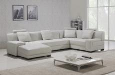 canapé d'angle en cuir italien 8 places, venesia, blanc, angle droit