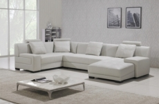 canapé d'angle en cuir italien 8 places, venesia, blanc, angle gauche