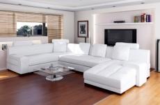 canapé d'angle grand orlando en cuir haut de gamme italien vachette , blanc , angle  gauche  idem photo
