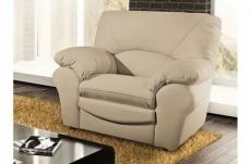 fauteuil 1 place en 100% tout cuir italien vachette osatis, couleur beige