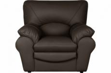 fauteuil 1 place en 100% tout cuir italien vachette osatis, couleur chocolat