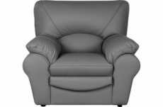 fauteuil 1 place en 100% tout cuir italien vachette osatis, couleur gris foncé