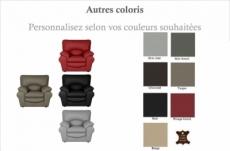 fauteuil 1 place en 100% tout cuir italien vachette osatis, couleur personnalisée