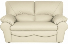 canapé 2 places en 100% tout cuir italien vachette osatis, couleur beige