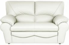 canapé 2 places en 100% tout cuir italien vachette osatis, couleur ivoire