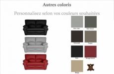 canapé 2 places en 100% tout cuir italien vachette osatis, couleur personnalisée