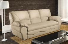 canapé 3 places en 100% tout cuir italien vachette osatis, couleur beige